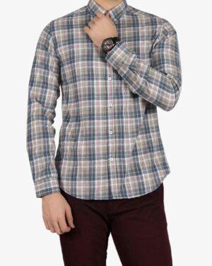 پیراهن پشمی طرح دار مردانه - خاکی - رو به رو