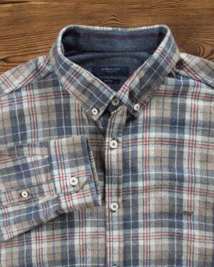 پیراهن پشمی طرح دار مردانه - خاکی - یقه