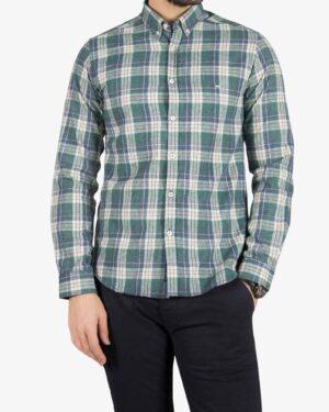 پیراهن پشمی طرح دار مردانه - سبز تیره - رو به رو