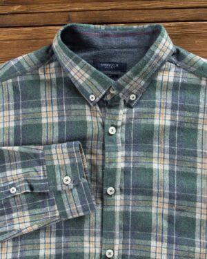پیراهن پشمی طرح دار مردانه - سبز تیره - یقه آستین