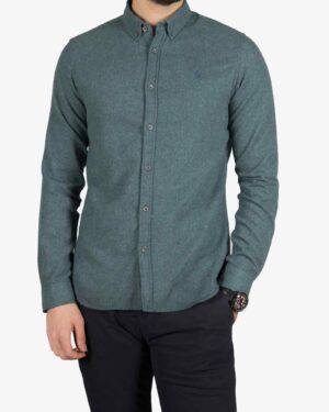 پیراهن پشمی مردانه ساده - خزه ای - رو به رو