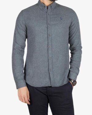 پیراهن پشمی مردانه ساده - سربی تیره - رو به رو