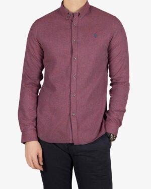 پیراهن پشمی مردانه ساده - شرابی - رو به رو