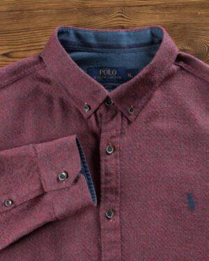 پیراهن پشمی مردانه ساده - شرابی - یقه مردانه