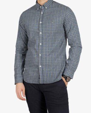 پیراهن پشمی چهارخونه مردانه - خاکستری - رو به رو
