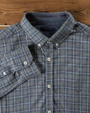 پیراهن پشمی چهارخونه مردانه - خاکستری - یقه مردانه