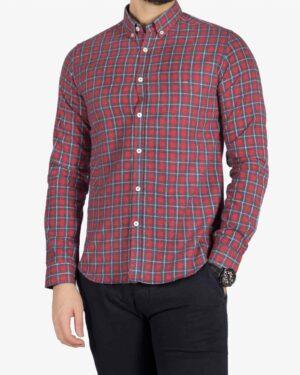 پیراهن پشمی چهارخونه مردانه - قرمز - رو به رو