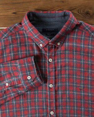 پیراهن پشمی چهارخونه مردانه - قرمز - یقه مردانه
