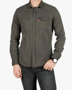 پیراهن کتان دو جیب مردانه - زیتونی سیر - رو به رو