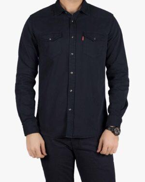 پیراهن کتان دو جیب مردانه - سرمه ای تیره - رو به رو