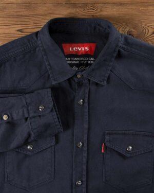 پیراهن کتان دو جیب مردانه - سرمه ای تیره - یقه مردانه