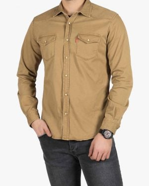 پیراهن کتان دو جیب مردانه - قهوه ای تیره - رو به رو