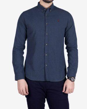 پیراهن کتان مردانه کلاسیک - آبی کاربنی - رو به رو