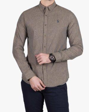 پیراهن کتان مردانه کلاسیک - خاکی - رو به رو