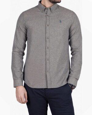 پیراهن کتان مردانه کلاسیک - سربی - رو به رو