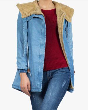 کاپشن جین زنانه کوتاه کلاه دار - آبی روشن - جلو باز