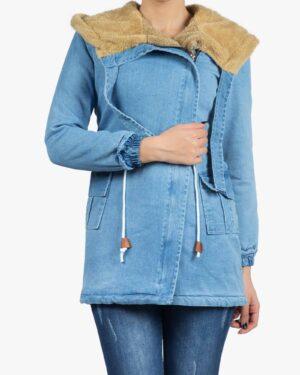 کاپشن جین زنانه کوتاه کلاه دار - آبی روشن - رو به رو