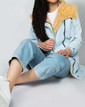 کاپشن جین زنانه کوتاه کلاه دار - آبی یخی - محیطی زنانه