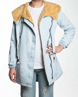 کاپشن جین زنانه کوتاه کلاه دار - آبی یخی - کاپشن جلو باز