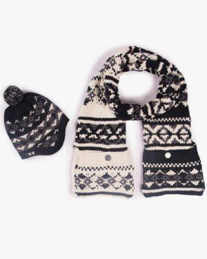 کلاه شال گردن جیب دار طرح دار - مشکی - محصول