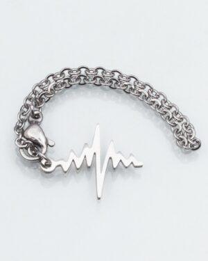 آویز ساعت طرح ضربان قلب - نقره ای - آویز استیل