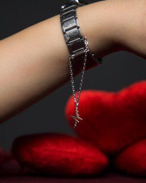 آویز ساعت طرح ضربان قلب - نقره ای - محیطی