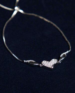 دستبند استیل طرح قلب - نقره ای - رو به رو