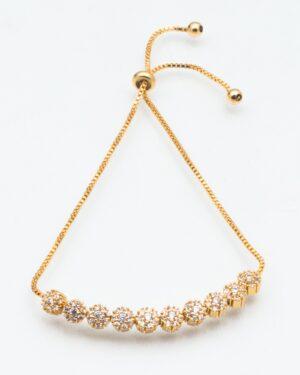 دستبند زنجیری طلایی نگین دار - طلایی - دستبند زنانه