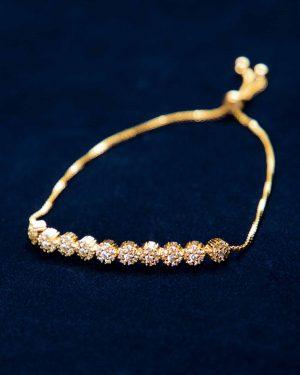 دستبند زنجیری طلایی نگین دار - طلایی - رو به رو
