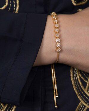 دستبند زنجیری طلایی نگین دار - طلایی - محیطی