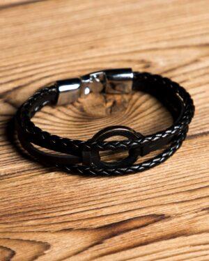 دستبند مشکی مهره استیل - مشکی - رو به رو