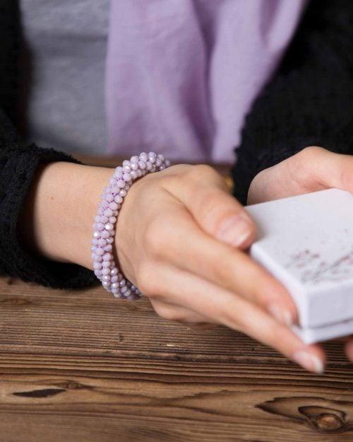 دستبند مهره کریستال کشی - یاسی روشن - محیطی