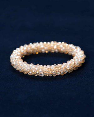 دستبند کریستالی دخترانه اسپرت - طلایی - رو به رو