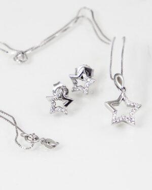 نیم ست دخترانه نقره طرح ستاره - نقره ای - گردنبند و گوشواره نقره