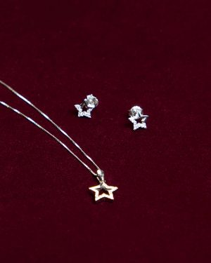 نیم ست دخترانه نقره طرح ستاره - نقره ای - گردنبند و گوشواره
