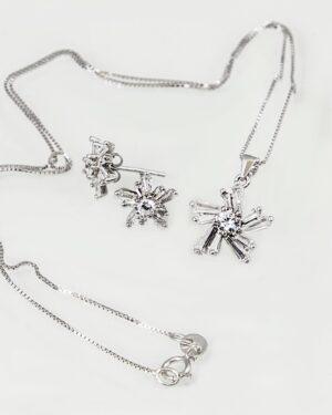 نیم ست طرح ستاره نقره - نقره ای - گردنبند و گوشواره نقره