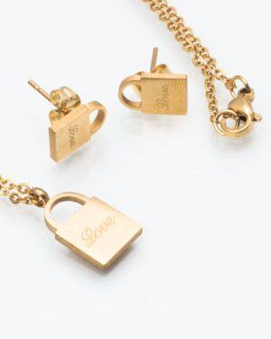 نیم ست طرح قفل طلایی - طلایی - نیم ست گردنبند و گوشواره