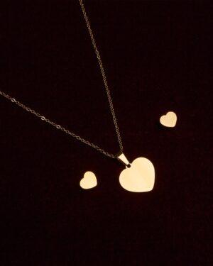 نیم ست طرح قلب طلایی - طلایی - بالا