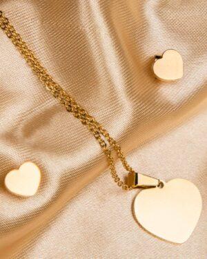 نیم ست طرح قلب طلایی - طلایی - گوشواره و گردنبند