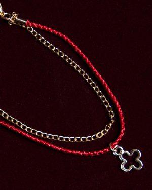 پابند دخترانه دو ردیفه - قرمز - پابند آویز دار
