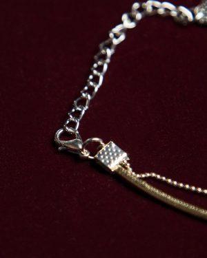 پابند زنانه دو زنجیره - طلایی - قفل و زنجیر