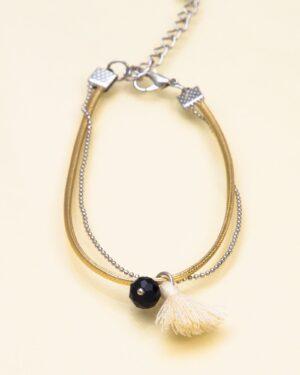 پابند زنانه دو زنجیره - طلایی - پابند آویز