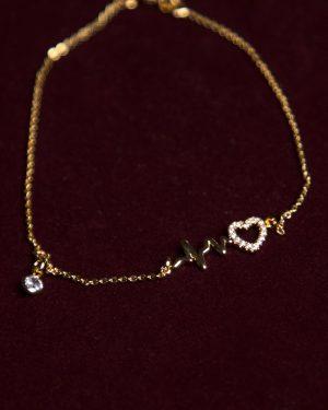 پابند طلایی طرح قلب - طلایی - نگین و پلاک