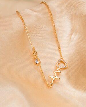 پابند طلایی طرح قلب - طلایی - پلاک طرح قلب