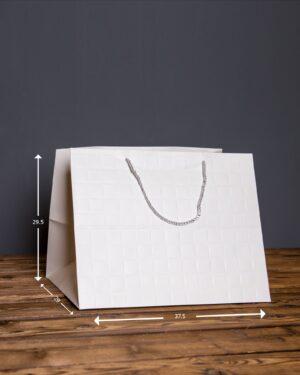 پاکت هدیه دسته دار بزرگ - سفید - ابعاد پاکت هدیه