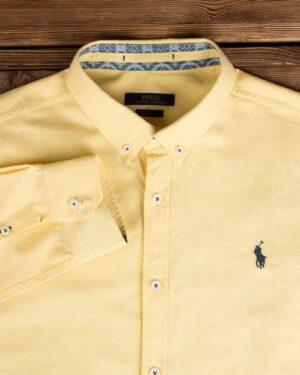 پیراهن مردانه آستین بلند - زرد - یقه مردانه