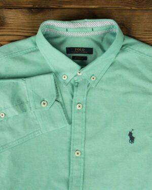 پیراهن مردانه آستین بلند - سبز زمردی - یقه مردانه