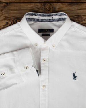 پیراهن مردانه آستین بلند - سفید - یقه مردانه