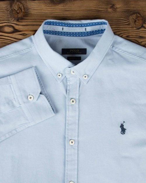 پیراهن مردانه آستین بلند - نیلی پاستیلی - یقه مردانه