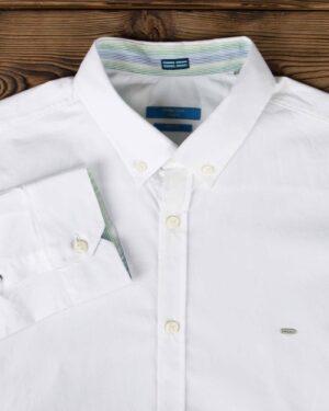پیراهن مردانه ساده نخی - سفید - یقه مردانه